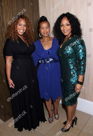 """L-R) Trecina """"Tina"""" Atkins-Campbell, mother Thomasina Atkins and sister Erica Atkins-Campbell of Gospel duo Mary Mary at LA Focus 15th Annual First Ladies High Tea at Beverly Hilton Hotel, in Bevrly Hills, California"""