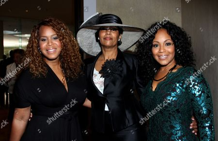 """Honoree Trecina """"Tina"""" Atkins-Campbell, LA Focus publisher Lisa Collins and Erica Atkins-Campbell of Gospel duo Mary Mary backstage at LA Focus 15th Annual First Ladies High Tea at Beverly Hilton Hotel, in Bevrly Hills, California"""