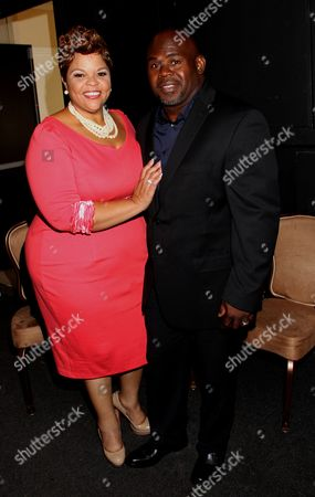 Honoree, Gospel singer and actress Tamela Mann and husband David Mann backstage at LA Focus 15th Annual First Ladies High Tea at Beverly Hilton Hotel, in Bevrly Hills, California