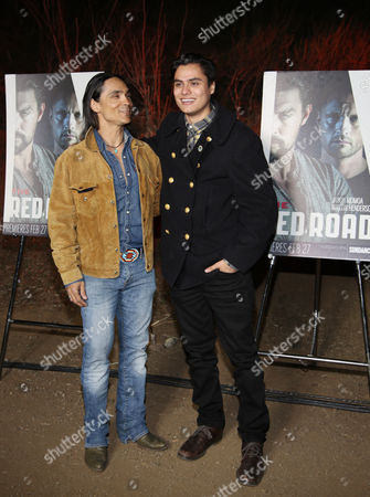 "Zahn McClarnon and Kiowa Gordon arrive at LA Premiere Screening of ""The Red Road"" on in Los Angeles, Calif"