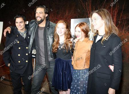 "From left, Kiowa Gordon, Jason Momoa, Annalise Basso, Allie Gonino, and Julianne Nicholson arrive at LA Premiere Screening of ""The Red Road"" on in Los Angeles, Calif"