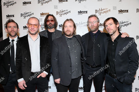 "Director Tom Berninger (3rd R) and (L-R) musicans Bryce Dessner, Aaron Dessner, Bryan Devendorf, singer/songwriter Matt Berninger and musician Scott Devendorf of the band The National at LA Special Screening Of ""Mistaken For Strangers"" - Red Carpet, on in Los Angeles"