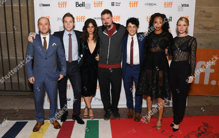 "Writer/Producer Simon Barrett, James Allen McCune, Callie Hernandez, Director Adam Wingard, Wes Robinson, Corbin Reid and Valorie Curry seen at Lionsgate's ""Blair Witch"" Midnight Madness Premiere at the 2016 Toronto International Film Festival, in Toronto"