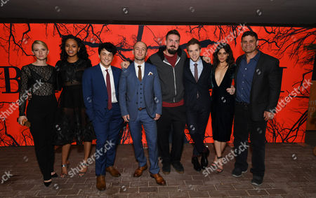 "Valorie Curry, Corbin Reid, Wes Robinson, Writer/Producer Simon Barrett, Director Adam Wingard, James Allen McCune, James Allen McCune, Callie Hernandez and Jason Constantine, Creative Executive and President of Acquisitions and Co-Productions of Lionsgate Motion Picture Group, seen at Lionsgate's ""Blair Witch"" Midnight Madness Premiere installation at the 2016 Toronto International Film Festival, in Toronto"