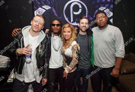 Macklemore, Owuor Arunga, Park City Live owner Kathryn Burns, Ryan Lewis and Ray Dalton backstage at Park City Live Day 9, in Park City, Utah