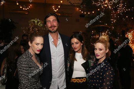 Stock Picture of From left, actress Evis Xheneti, Dr. Aaron Rollins, actress Sandra Vergara and actress Xhoana X pose during the Los Angeles Launch of Magnifico Giornata held at Palihouse West Hollywood on in West Hollywood, Calif