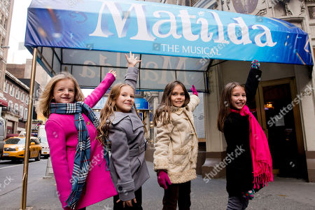 "Actors, from left, Milly Shapiro, Sophia Gennusa, Oona Laurence and Bailey Ryon, who will share the title role in ""Matilda the Musical"" on Broadway, pose for a portrait outside the Shubert Theatre, on in New York"