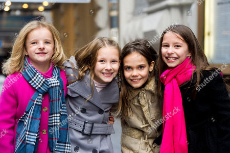 "Actresses from left, Milly Shapiro, Sophia Gennusa, Oona Laurence and Bailey Ryon, who will share the title role in ""Matilda the Musical"" on Broadway, pose for a portrait outside the Shubert Theatre, on in New York"