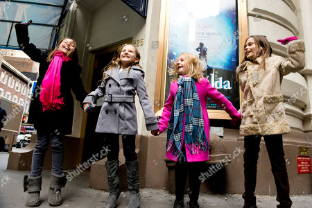 "From left, Bailey Ryon, Sophia Gennusa, Milly Shapiro and Oona Laurence, the four actresses who will share the starring role in ""Matilda the Musical"" on Broadway, pose for a portrait outside the Shubert Theatre, on in New York"