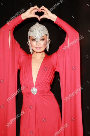 Irina Pantaeva seen at backstage at the Go Red For Women Red Dress Collection 2015 presented by Macy's during Mercedes-Benz Fashion Week Fall 2015 at The Theatre at Lincoln Center on in New York