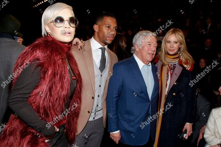 Stock Picture of Rita Ora, from left, Victor Cruz, Robert Kraft and Dee Ocleppo attend the Tommy Hilfiger Fall 2015 show during Mercedes-Benz Fashion Week Fall 2015 at The Park Avenue Armory, in New York