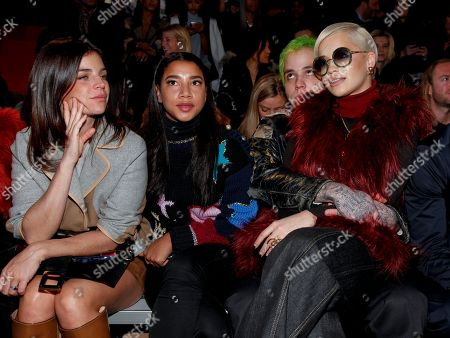 Julia Restoin Roitfeld, from left, Hannah Bronfman, Richard Hilfiger and Rita Ora attend the Tommy Hilfiger Fall 2015 show during Mercedes-Benz Fashion Week Fall 2015 at The Park Avenue Armory, in New York