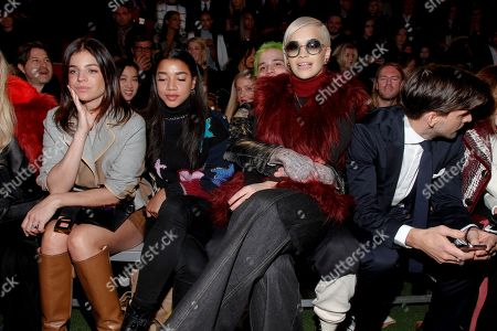 Julia Restoin Roitfeld, from left, Hannah Bronfman, Richard Hilfiger, Rita Ora and Johannes Huebl attend the Tommy Hilfiger Fall 2015 show during Mercedes-Benz Fashion Week Fall 2015 at The Park Avenue Armory, in New York