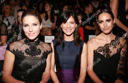 Sophia Bush, Perry Reeves and Louise Roe are seen at MBFW Spring/Summer 2015 Monique Lhuillier fashion show at Lincoln Center on in New York