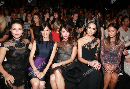 Sophia Bush, from left, Perry Reeves, Abigail Spencer, Louise Roe and Jamie Chung pose at MBFW Spring/Summer 2015 Monique Lhuillier fashion show at Lincoln Center on in New York
