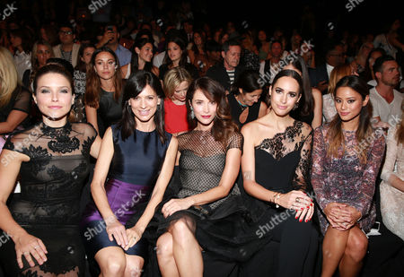 Sophia Bush, Perry Reeves, Abigail Spencer, Louise Roe and Jamie Chung are seen at MBFW Spring/Summer 2015 Monique Lhuillier fashion show at Lincoln Center on in New York