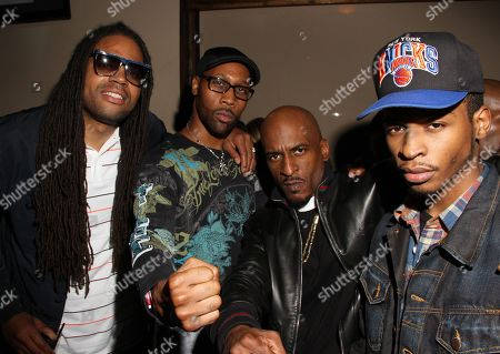 """L-R) Kia Shine, RZA, Rakim and son backstage at Monster Headphones """"Simply Classic"""" BET 2012 Hip Hop Awards After Party Featuring Rakim hosted by Devyne Stephens and Chaka Zulu at Frank Ski's Restaurant, in Atlanta, Georgia"""