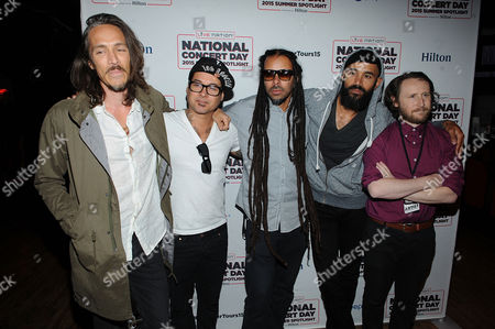 From left, Brandon Boyd, Jose Pasillas, Chris Kilmore, Ben Kenney, and Mike Einziger of Incubus attend the National Concert Day at Irving Plaza on in New York
