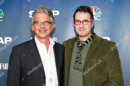 """Executive producers Walter F. Parkes, left, and Jon Robin Baitz, right, attend NBC's """"The Slap"""" miniseries premiere party at the New Museum, in New York"""