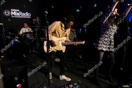 Theo Spielberg, left, and Sasha Spielberg of the band Wardell perform onstage at the Nokia MixRadio Launch Event on in Los Angeles