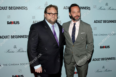 "Ross Katz, left, and Nick Kroll, right, attend the premiere of ""Adult Beginners"" at AMC Lincoln Square, in New York"