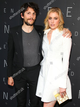 """Felix de Givry, left, and Greta Gerwig, right, attend the premiere of """"Eden"""" at the IFC Center, in New York"""