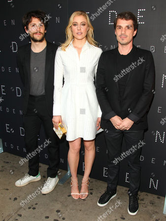 """Felix de Givry, from left, Greta Gerwig and Sven Hansen-Love attend the premiere of """"Eden"""" at the IFC Center, in New York"""