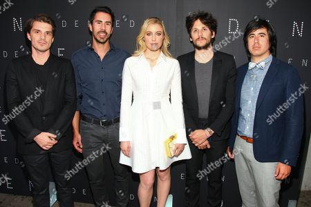 """Sven Hansen-Love, from left, Gabriel Hammond, Greta Gerwig, Felix de Givry and Daniel Hammond attend the premiere of """"Eden"""" at the IFC Center, in New York"""