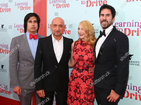 "Daniel Hammond, from left, Ben Kingsley, Patricia Clarkson and Gabriel Hammond attend the premiere for ""Learning To Drive"" at The Paris Theatre, in New York"