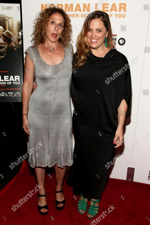 """Rachel Grady, left, and Heidi Ewing, right, attend the premiere of, """"Norman Lear: Just Another Version of You"""", at the Walter Reade Theater, in New York"""