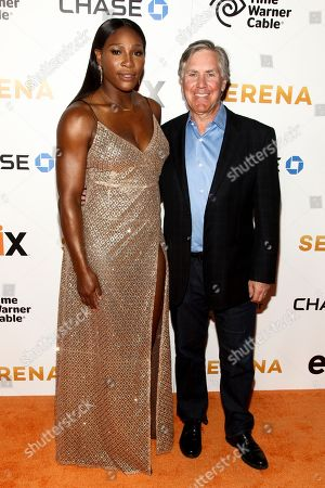 """Serena Williams, left, and Mark Greenberg, right, attend the premiere of EPIX original documentary """"Serena"""", at the SVA Theatre, in New York"""
