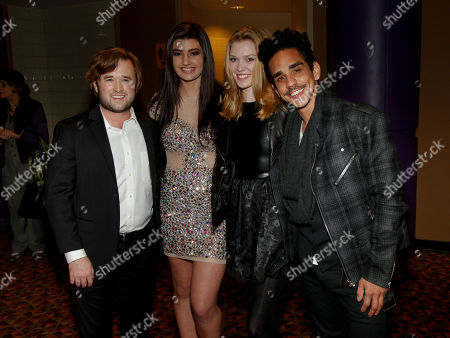 "Haley Joel Osment, from left, Ally Rahn, Julia King and Ray Santiago attend the New York premiere of ""Sex Ed"" at AMC Empire 25, in New York"