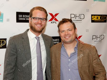 """Bill Kennedy, left, and Isaac Feder, right, attend the New York premiere of """"Sex Ed"""" at AMC Empire 25, in New York"""