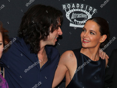 """Paul Dalio, left, and Katie Holmes, right, attend the premiere of """"Touched With Fire"""" at the Walter Reade Theatre, in New York"""