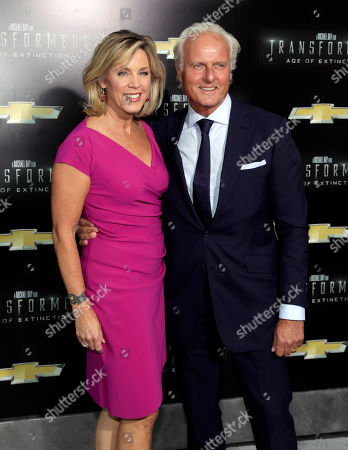 "Television journalist Deborah Norville, left, with husband Karl Wellner, right, attends the premiere of ""Transformers: Age of Extinction"", in New York"