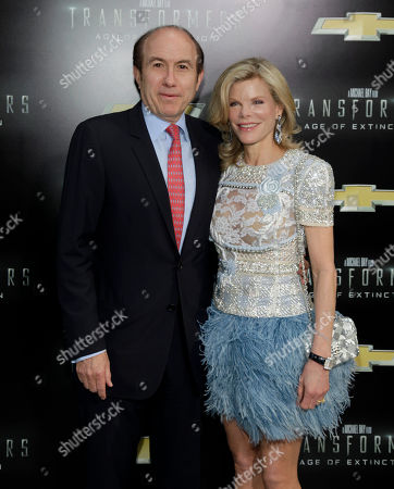 """Stock Picture of President and CEO of Viacom Philippe Dauman, left, with wife Deborah Dauman, right, attends the premiere of """"Transformers: Age of Extinction"""", in New York"""