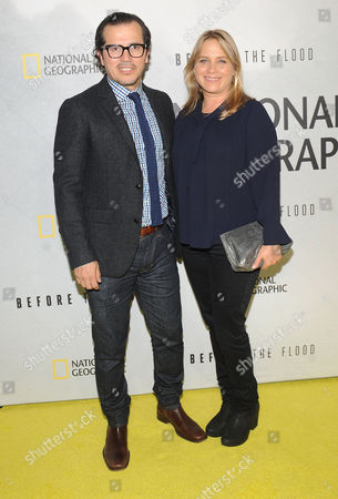 """John Leguizamo and Justine Maurer attend the premiere of National Geographic Channel's """"Before The Flood"""" at the United Nations on"""