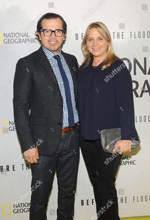 """John Leguizamo and Justine Maurer attends the premiere of National Geographic Channel's, """"Before The Flood"""", at the United Nations, in New York"""