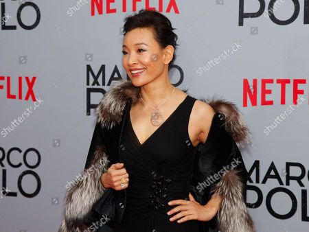 """Joan Chen attends the season premiere of the new Netflix series """"Marco Polo"""" at AMC Lincoln Square, in New York"""