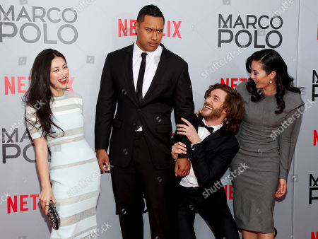 Zhu Zhu, from left, Uli Latukefu, Lorenzo Richelmy and Olivia Cheng attend the season premiere of the new Netflix series 'Marco Polo' at AMC Lincoln Square, in New York