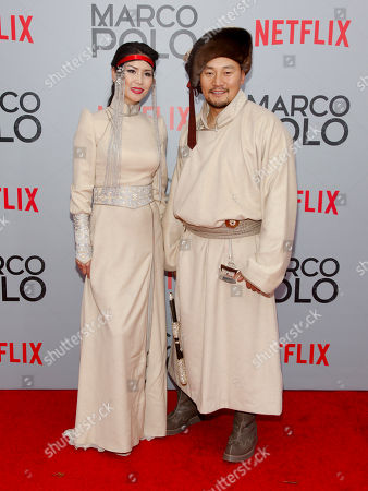 "Urm Baljinnyam, left, and Amarsaikhan Baljinnyam, right, attend the season premiere of the new Netflix series ""Marco Polo"" at AMC Lincoln Square, in New York"