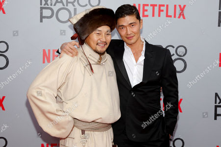 "Stock Picture of Amarsaikhan Baljinnyam, left, and Rick Yune, right, attend the season premiere of the new Netflix series ""Marco Polo"" at AMC Lincoln Square, in New York"