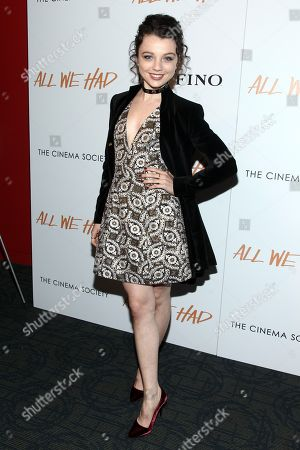"Stefania Owen attends a special screening of ""All We Had"", hosted by The Cinema Society and Ruffino, at the Landmark Sunshine Cinema, in New York"