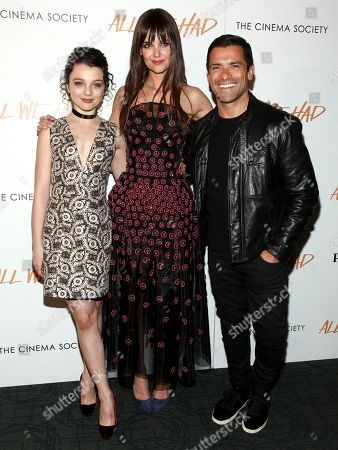 "Stefania Owen, from left, Katie Holmes and Mark Consuelos attend a special screening of ""All We Had"", hosted by The Cinema Society and Ruffino, at the Landmark Sunshine Cinema, in New York"
