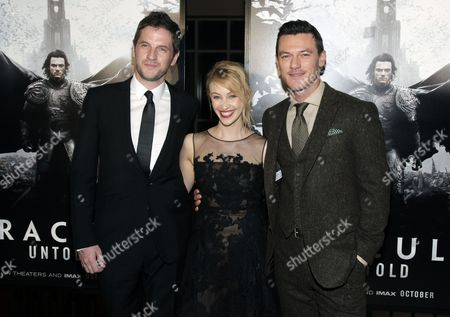 """Gary Shore, from left, Sarah Gadon and Luke Evans attend a screening of """"Dracula Untold"""" on in New York"""