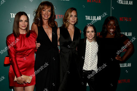 """Tammy Blanchard, from left, Allison Janney, Sian Heder, Elliot Page and Uzo Aduba attend a special screening of """"Tallulah"""" at the Landmark Sunshine Cinema, in New York"""