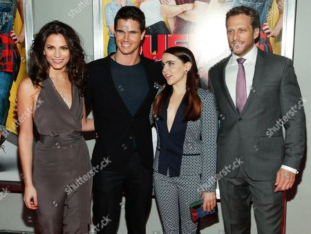 """Stock Image of Rebecca Weil, from left, Robbie Amell, Mae Whitman and Ari Sandel attend a special screening of """"The Duff"""" at AMC Loews Lincoln Square, in New York"""