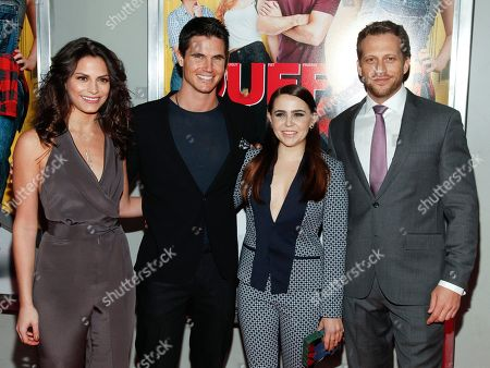 """Rebecca Weil, from left, Robbie Amell, Mae Whitman and Ari Sandel attend a special screening of """"The Duff"""" at AMC Loews Lincoln Square, in New York"""