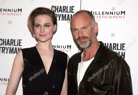 "Actress Evan Rachel Wood, left, and director Fredrik Bond, right, attend a screening of ""Charlie Countryman"" on in New York"