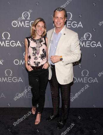 Nicole Mellon, left, and Matthew Mellon, right, attend the Omega Speedmaster Dark Side of the Moon launch event, in New York